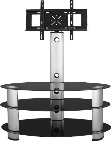 Bentley TV Stand in Black Glass/Silver